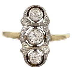 Antique Diamond 3-Stone Ring 0.90 Carat Old Mine Cuts 14 Karat