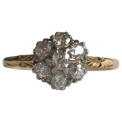 Antique Diamond and 18 Carat Gold Cluster Ring
