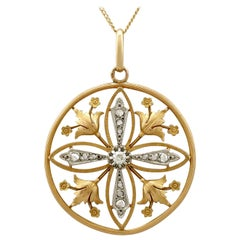 Antique Diamond and 18 Karat Yellow Gold Pendant