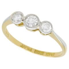 Antique Diamond and 18k Yellow Gold Trilogy Ring, Circa 1920
