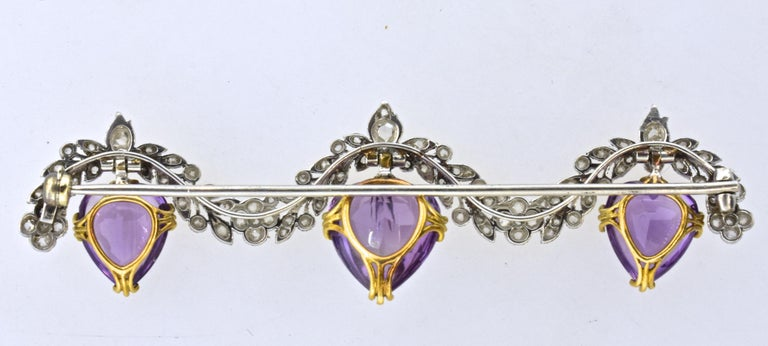 Antique Diamond and Amethyst Edwardian Platinum Brooch, circa 1910 In Excellent Condition For Sale In Aspen, CO