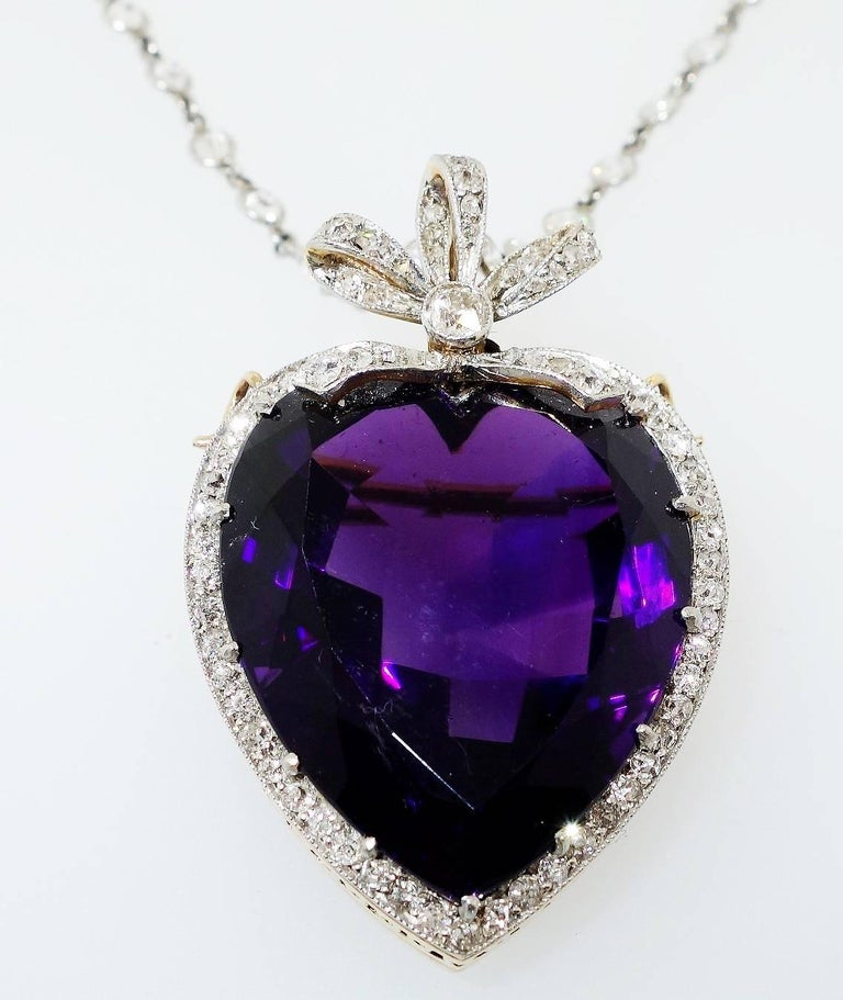 Antique Diamond And Amethyst Heart Pendant Brooch For Sale