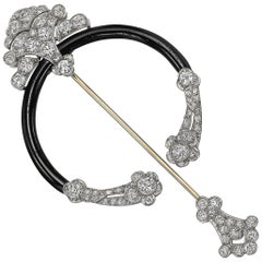 Antique Diamond and Black Enamel Fibula Brooch