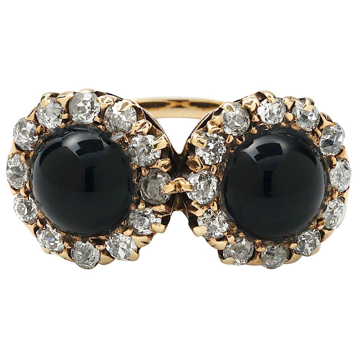 Antique Diamond and Black Onyx Halo Ring
