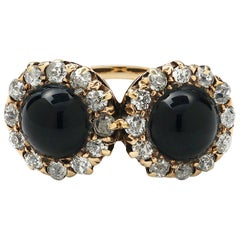 Antique Diamond and Black Onyx Halo Ring
