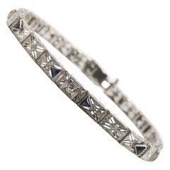 Antique Diamond & Period Manufactured Sapphire Filigree 14k White Gold Bracelet