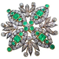 Antique Diamond and Emerald Brooch/Pendant