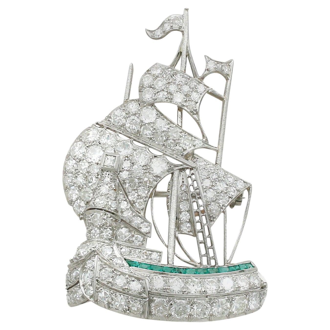 Antique 1910s Diamond and Emerald Platinum Galleon Ship Brooch