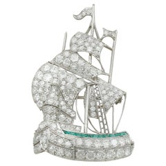 Antique Diamond and Emerald Platinum Galleon Ship Brooch