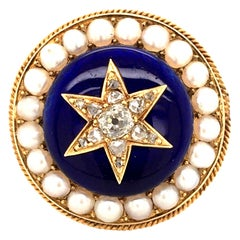 Antique Diamond and Enamel Brooch with Half-Pearls in 14 Karat Yellow Gold