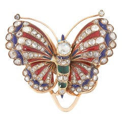 Antique Diamond and Enamel Butterfly Clip Brooch