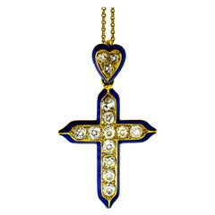 Antique Diamond and Enamel Cross, circa 1870