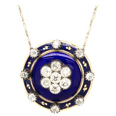 Antique Diamond and Enamel Necklace in 9 and 14 Karat Gold and Silver
