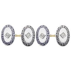 Antique Diamond and Enamel Platinum Set Cufflinks, circa 1900