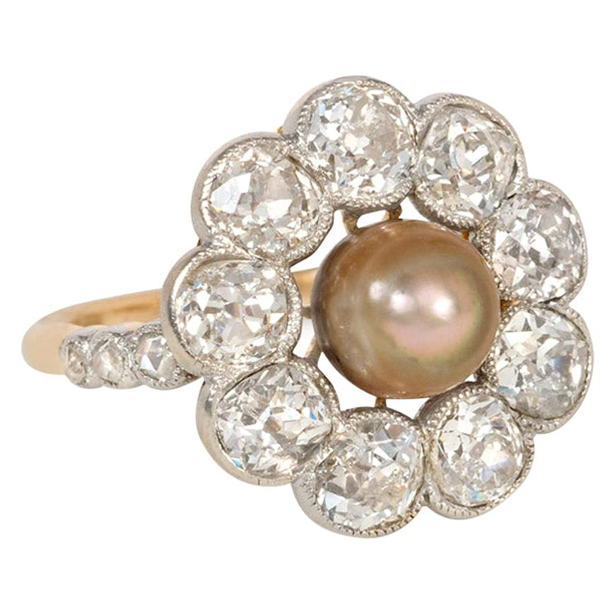 Antique Old Mine Cut Diamond and Grey Pearl Cluster Ring in Gold and Platinum