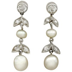 Antique Diamond and Natural Pearl Yellow Gold Drop Earrings, circa 1880