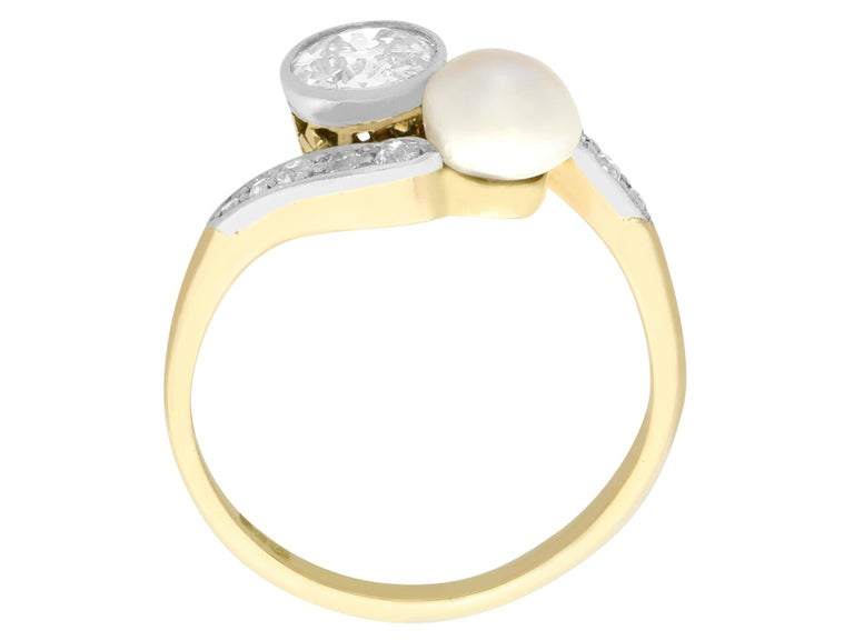 Women's or Men's Antique Diamond and Natural Saltwater Pearl Yellow Gold Twist Ring, circa 1900 For Sale