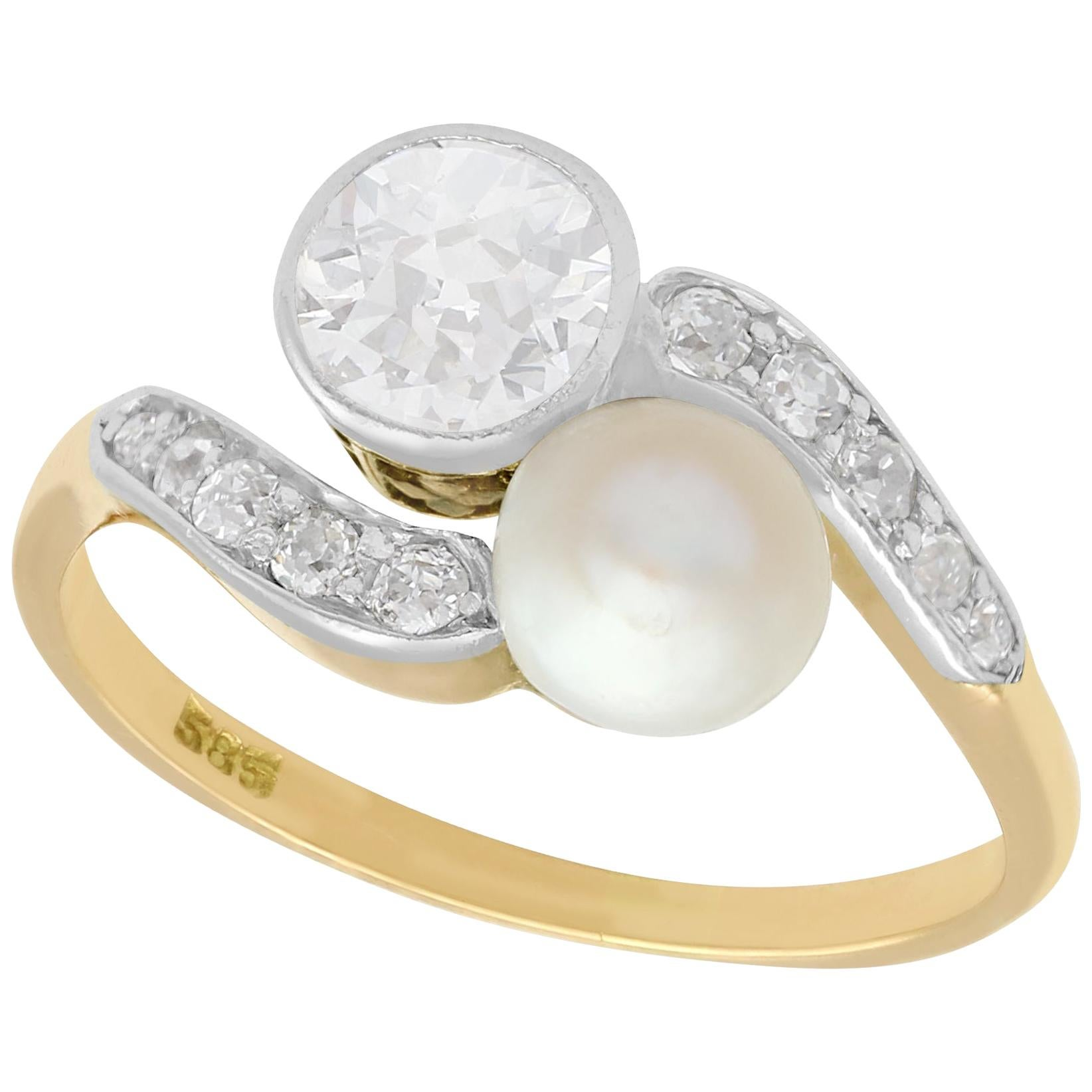 Antique Diamond and Natural Saltwater Pearl Yellow Gold Twist Ring, circa 1900