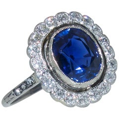 Antique Diamond and Natural Unheated Fine Sapphire Ring