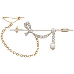 Antique Diamond and Pearl, 18 Karat Yellow Gold Brooch