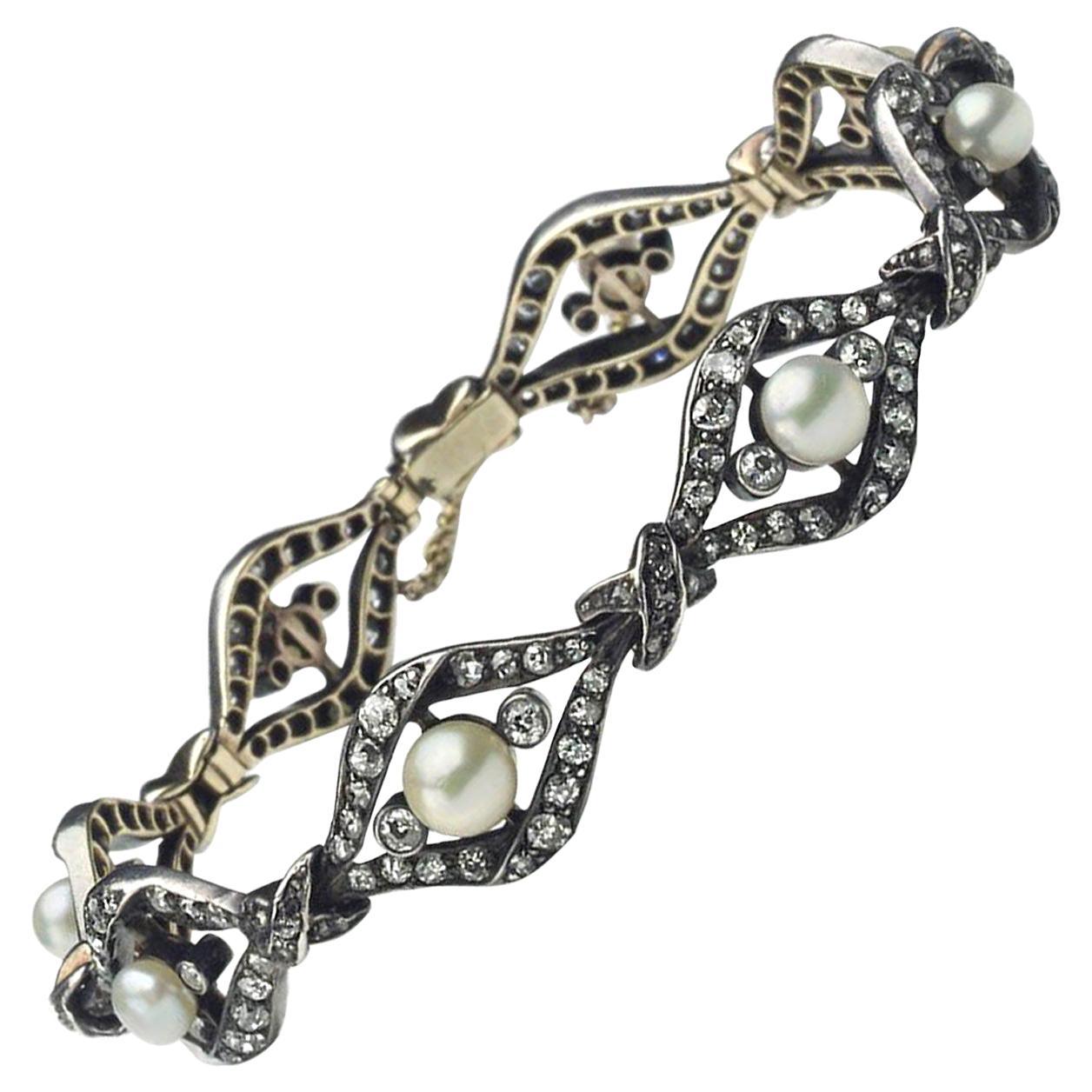 Antique Diamond and Pearl Bracelet