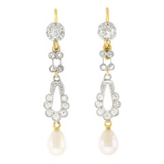 Antique Diamond and Pearl Chandelier Earrings
