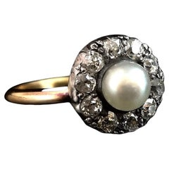 Antique Diamond and Pearl Cluster Ring, 18 Karat Gold