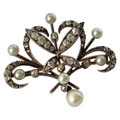 Antique Diamond and Pearl Gold Brooch