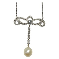 Antique Diamond and Pearl Necklace in Platinum and 18k White Gold