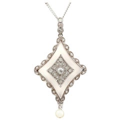 Antique Diamond and Pearl Rock Crystal and White Gold Pendant, circa 1910
