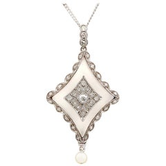 Antique Diamond and Pearl Rock Crystal and White Gold Pendant