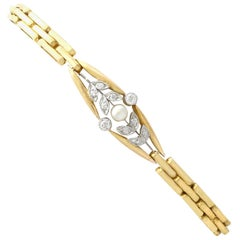 Antique Diamond and Pearl Yellow Gold Bracelet
