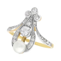 Antique Diamond and Pearl Yellow Gold Dress Ring, Art Nouveau