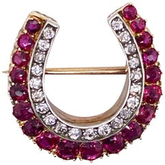 Antique Diamond and Ruby Horseshoe Brooch Pin
