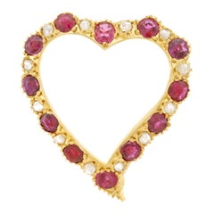 Antique Diamond and Ruby Set Gold Heart Pin