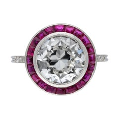 Antique Diamond and Ruby Target Ring, French, circa 1920