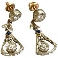 Antique Diamond and Sapphire 14 Karat White Gold Dangle Earrings