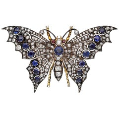 Antique Diamond and Sapphire Butterfly Brooch