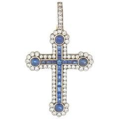 Antique Diamond and Sapphire Cross Pendant