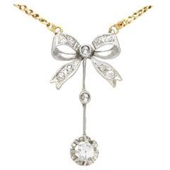 Antique Diamond and White Gold Bow Pendant Circa 1920