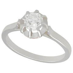 Antique Diamond and White Gold Platinum Set Solitaire Ring