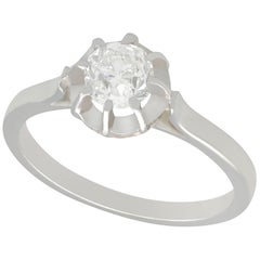 Antique Diamond and White Gold Platinum Set Solitaire Ring