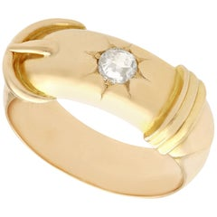 Antique Diamond and Yellow Gold Buckle Ring, Circa 1900