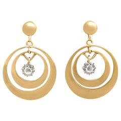 Antique Diamond and Yellow Gold Drop Earrings, circa 1930