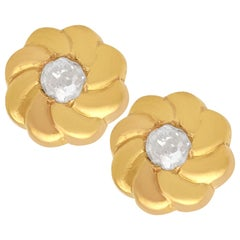 Antique Diamond and Yellow Gold Earrings Circa 1920