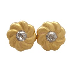 Antique Diamond and Yellow Gold Earrings
