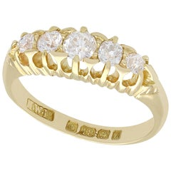Antique Diamond and Yellow Gold Five-Stone Ring