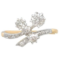 Antique Diamond and Yellow Gold Platinum Set Cocktail Ring