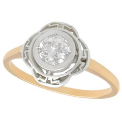 Antique Diamond and Yellow Gold Silver Set Solitaire Ring