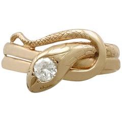 Antique Diamond and Yellow Gold 'Snake' Ring Circa 1900